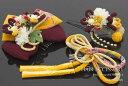 髪飾り 3点セット 成人式 卒業式 黄色 赤紫 和柄 リボン 縮緬 花 フラワー ラインストーン 振袖 袴 髪留め ヘアアクセサリー【あす楽対応】