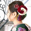 髪飾り 成人式 つまみ細工 2点セット 赤 レッド 白 オフホワイト 牡丹 梅 花 フラワー 縮緬 ちりめん コ…