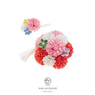 Soubien Ornament Two Points Set Pink Pimpongmam Flower Corsage Comb