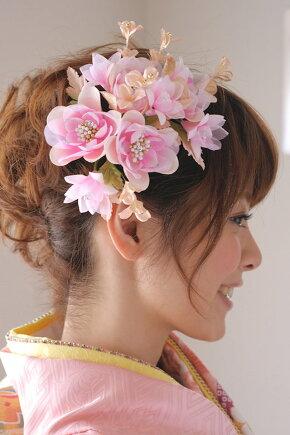 ピンク系,晴れに日の着物姿に【髪飾り】