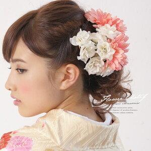 髪飾り 成人式 振袖向け 浴衣向け 七五三 結婚式 ピンク 花冠 花かんむり ガーベラ 薔薇 カチューシャタイプ フラワークラウン ワイヤー 髪留め 髪かざり 振り袖 ヘ