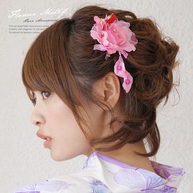 髪飾り 浴衣向け 和柄 ラメ ブラ コサージュ ピンク 花 フラワー 着物 ゆかた 髪かざり 振り袖 【あす楽対応】