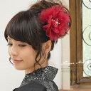 髪飾り 赤 花 フラワー オーガンジー パールビーズ コサージュ 浴衣【あす楽対応】
