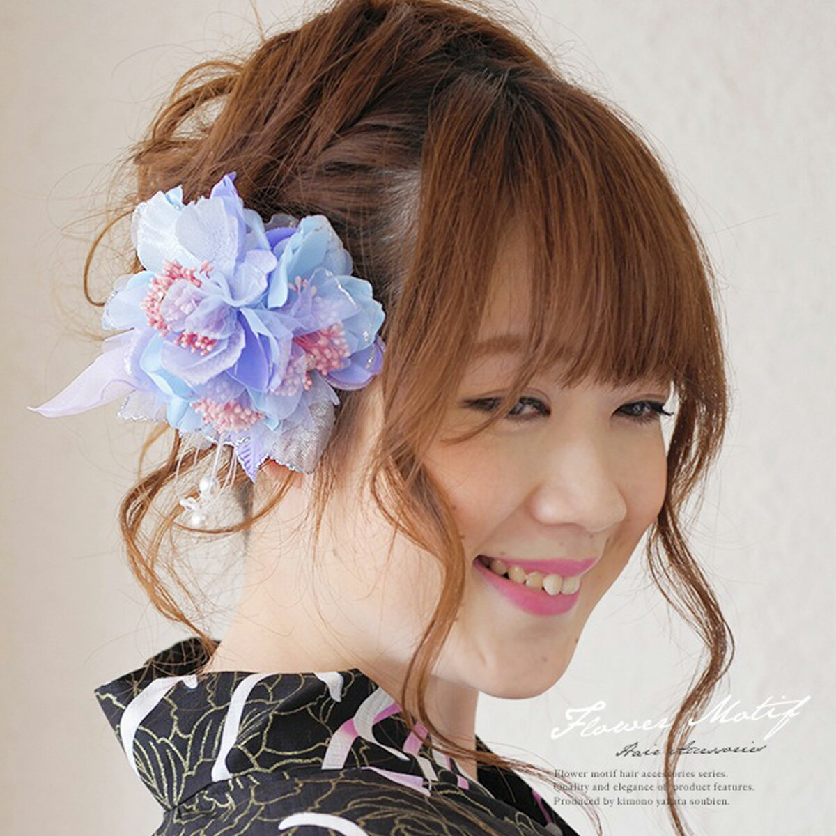髪飾り 紫 花 フラワー パールビーズ ビジュー ラメ コサージュ 浴衣【あす楽対応】