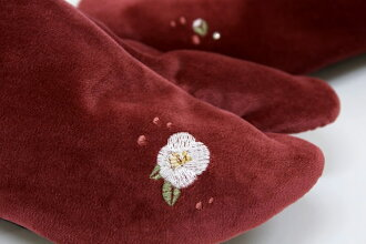 Brand WA de Modern velveteen embroidery tabi Bordeaux red series Tsubaki Tsubaki スワロフスキークリエーション use kimono kimono kimono accessories women's footwear take made in Japan