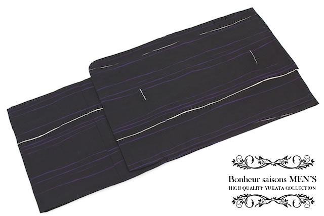 メンズ浴衣 花火大会 夏祭り 男性用 黒 ブラック 紫 よろけ縞 男性浴衣 M・L・LLサイズ 【あす楽対応】