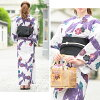 Obi yukata set adult three points set White Russian white purple black butterfly rose flower lam cotton woman ボヌールセゾンフリー made with a yukata set Lady's 2019 retro