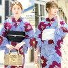 Obi yukata set adult three points set blue blue red black and white flower stripe cotton woman ボヌールセゾン S-free made with a yukata set Lady's 2019 retro