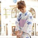 浴衣 セット レディース レトロ 作り帯 浴衣セット 大人 3点セット 白系 ホワイト 紫 撫子 花 綿 ラメ…