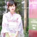浴衣 3点セット(浴衣/兵児帯/下駄) bonheur saisons 白 ホワイト ピンク 紫 パープル 菊 ラメ 綿 浴衣セ…