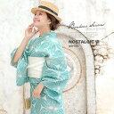 浴衣 3点セット(浴衣/半幅帯/下駄) bonheur saisons ボヌールセゾン 水色 ミントグリーン 麻の葉 綿麻 浴衣…