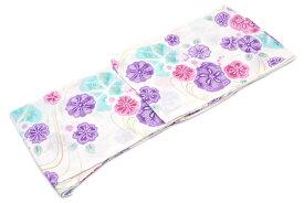 レディース浴衣 ブランド bonheur saisons(ボヌールセゾン) 白 ホワイト 紫 パープル 梅 なでしこ 花 ラメ 綿 洗える 夏祭り 花火大会 女性用 仕立て上がり 【女性浴衣 白系】【あす楽対応】【浴衣】