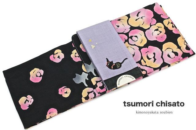 【在庫処分】レディース浴衣 ブランド tsumori chisato ツモリチサト 黒 ブラック ばらとねこ 猫 綿 注染 【女性浴衣 女性 レディース浴衣 黒・グレー系】【送料無料】【あす楽対応】