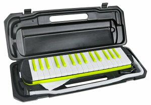 KC 鍵盤ハーモニカ 32鍵盤 クールな ブラック x ネオンライム カラー ピアニカ P3001-32K/NEONLIME