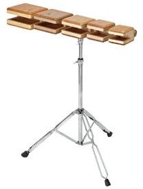 Playwood テンプルブロック ウッドブロック 箱型5音セット TB-40S スタンド付属 マレット付属