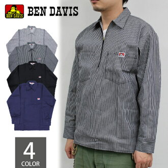 本戴比思BEN DAVIS 1/2 ZIPPER LONG SLEEVE hafujippukotton长袖子衬衫素色山核桃人(208,224,276)
