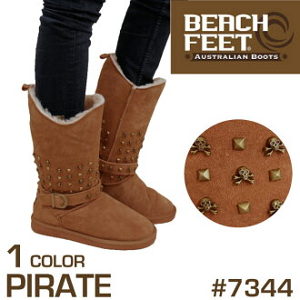 Beach feet BEACH FEET スカルスタッズ cow leather Sheepskin Boots Chestnut PIRATE medium boots leather boots wool skull engineer ladies (7344)