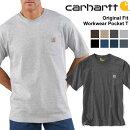 カーハートcarharttORIGINALFIT無地ポケットロゴ付きUネック半袖Tシャツメンズ(K87)