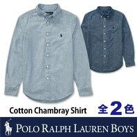 b4f064f0701ce ポロ ラルフローレン ボーイズ POLO Ralph Lauren BOYSシャンブレー シャツ コットン 長袖 ワイシャツ無地 ボタンダウン