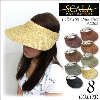 Scalar SCALA Color Strau Sun visor colorful straw brim wide visor Hat ladies (L202)