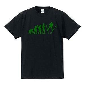 ■スキージャンプ■人類の進化(EVOLUTION)■綿/ポリエステル■サイズ90cm〜5L■全4色■面白いTシャツ■おもしろTシャツ■大きいサイズ■ビッグサイズ■半袖ラージヒル、ノーマルヒル、葛西紀明、高梨沙羅