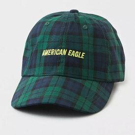 American Eagle(アメリカンイーグル)■AEO PLAID BASEBALL HAT■グリーン■フリーサイズ■キャップ■直輸入正規品■ゴルフやテニスにもおすすめ!