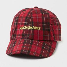 American Eagle(アメリカンイーグル)■AEO PLAID BASEBALL HAT■レッド■フリーサイズ■キャップ■直輸入正規品■ゴルフやテニスにもおすすめ!