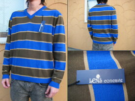 【LENS CONCAVE HOLIDAY】 V NECK SWETER BLUE【L】