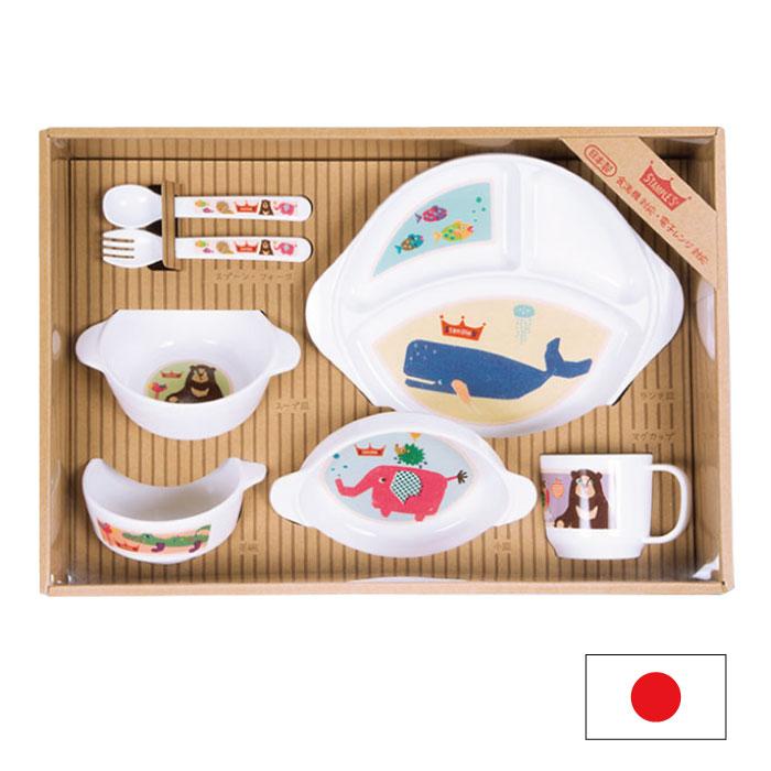 stample スタンプル ベビー食器セット 7点セット ベビー 赤ちゃん 子供 男の子 女の子 割れない すべり止め おしゃれ かわいい 日本製 プレート 乳幼児 ベビー食器 離乳食食器 出産祝い すくいやすい ベビー食器セット 91325 2018