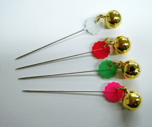 鈴付待針20本針長:40mm全長50mm太さ:0.53mmピンク6本・白6本・黄緑4本・オレンジ4本