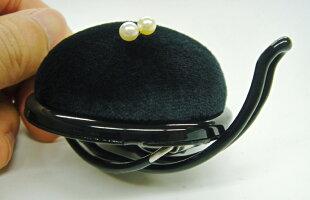 アームピンクッション60mm半円形日本製ブラック