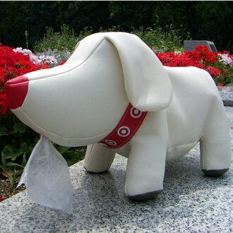 """吐舌笑臉和被寵壞的小狗看起來像母題""""T 狗卷紙架""""。"""