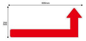 【感染対策】誘導シール 矢印 横600x縦250mmソーシャルディスタンス ステッカー 感染防止対策レジ 受付 注意喚起
