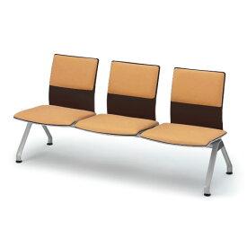 【ロビー・ラウンジ家具】 イトーキ ウェイティング PA-5/3連背付ベンチ 背座クッション付/シェル49:ゼブラウッド【自社便/開梱・設置付】