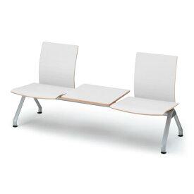 【ロビー・ラウンジ家具】 イトーキ ウェイティング PA-5/3連背付ベンチ クッションなし/シェルW9:ホワイト【自社便/開梱・設置付】