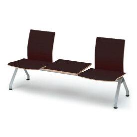 【ロビー・ラウンジ家具】 イトーキ ウェイティング PA-5/3連背付ベンチ クッションなし/シェル49:ゼブラウッド【自社便/開梱・設置付】