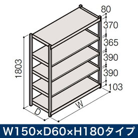 物流家具 イトーキ ボルトレス軽中量ラック RL型[単体]/開放型(150kg仕様) W150×D60×H180タイプ/棚板5段【自社便/開梱・設置付】