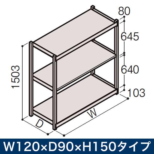 物流家具/イトーキ ボルトレス軽中量ラック RL型[単体]/開放型(200kg仕様) W120×D90×H150タイプ/棚板3段【自社便/開梱・設置付】