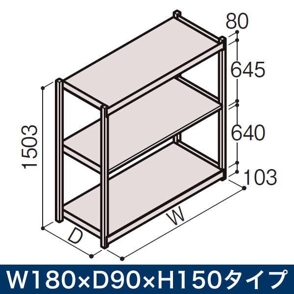 物流家具/イトーキ ボルトレス軽中量ラック RL型[単体]/開放型(200kg仕様) W180×D90×H150タイプ/棚板3段【自社便/開梱・設置付】