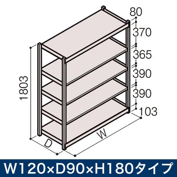 物流家具/イトーキ ボルトレス軽中量ラック RL型[単体]/開放型(200kg仕様) W120×D90×H180タイプ/棚板5段【自社便/開梱・設置付】