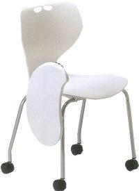 アイコ メモ台付きチェア テーブル付き椅子 ミーティングチェア 会議用イス 肘なし キャスター脚 ヌードタイプ MC-424T