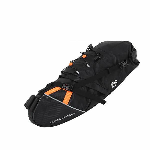ドッペルギャンガー 大容量サドルバッグ 自転車用バック ブラック×オレンジ DOPPELGANGER DBS262-BK