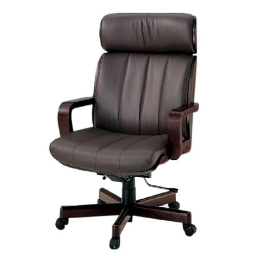 イトーキ R-1タイプ エグゼクティブチェア 社長椅子 役員椅子 ハイバック 肘付 突板張り 背裏ローズ 皮革 KWR-137LA