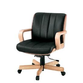 イトーキ R-1タイプ エグゼクティブチェア 社長椅子 役員椅子 ミドルイバック 肘付 突板張り 背裏オーククリア 皮革 KWR-159LA