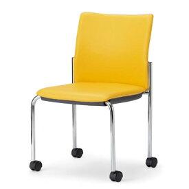 アイコ ミーティングチェア 椅子 会議チェア 肘なし キャスター脚 クロームメッキ 角背タイプ MC-892