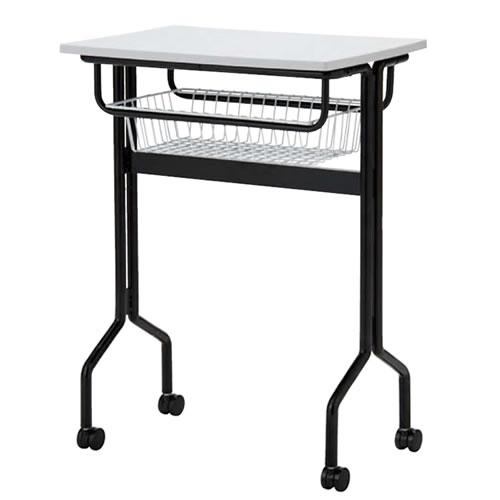プラスチック天板パーソナルテーブル ワークテーブルタイプ 棚付 キャスター脚 TT-W15MK