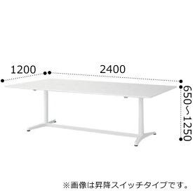 イトーキ toiro トイロ 昇降 テーブル デスク 机 インジケーター付昇降スイッチタイプ プレーン天板 アルミミラー脚 幅2400×奥行1200×高さ650〜1250ミリ JZT-2412NB-