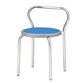 丸イス パイプ椅子 スツール 座固定 丸いす 背付 メッキ脚 4脚セット R-201N