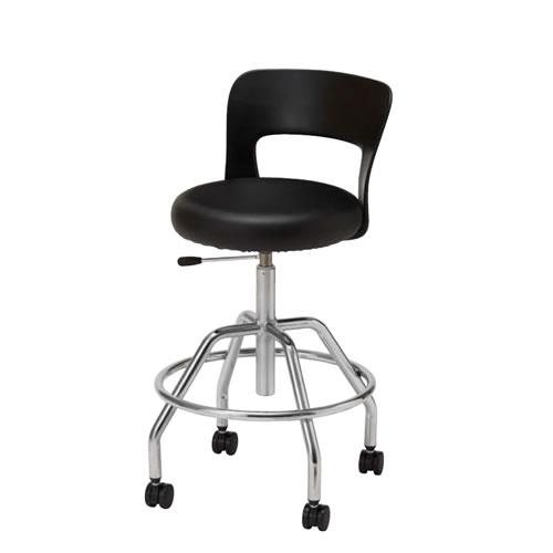 作業用チェア 作業椅子 作業用椅子 キャスター付 メッキ脚 背もたれ付 ガス上下調節 CA-M6L