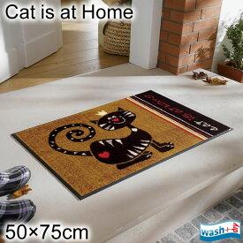 ウォッシュ アンド ドライ 玄関マット エントランスマット フロアマット ウェルカムマット 洗える 滑り止め 薄型 屋外 屋内 室内 50×75cm アジアン エスニック 猫 かわいい キャメル 速乾 G010A
